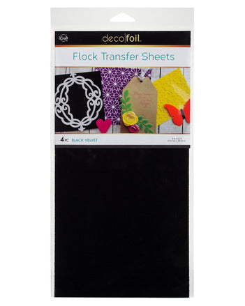 "Flock Transfer Sheets 6"" x 12"" - Black Velvet"
