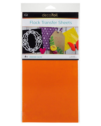 "Flock Transfer Sheets 6"" x 12"" - Orange Glow"