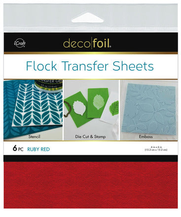 "Flock Transfer Sheets 6"" x 6"" - Ruby Red"