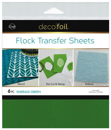 "Flock Transfer Sheets 6"" x 6"" - Emerald Green"