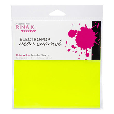 Rina K Designs Neon Enamel Transfer Sheets - Hello Yellow