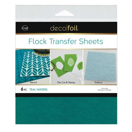 "Flock Transfer Sheets 6"" x 6"" - Teal Waters"