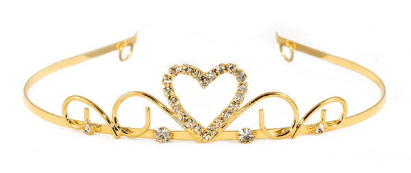 Sweetheart Princess Swirl Tiara with Rhinestone Gems - 6 units
