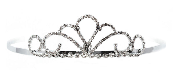 Cascading Swirl Princess Tiara with Rhinestone Gems - 6 units