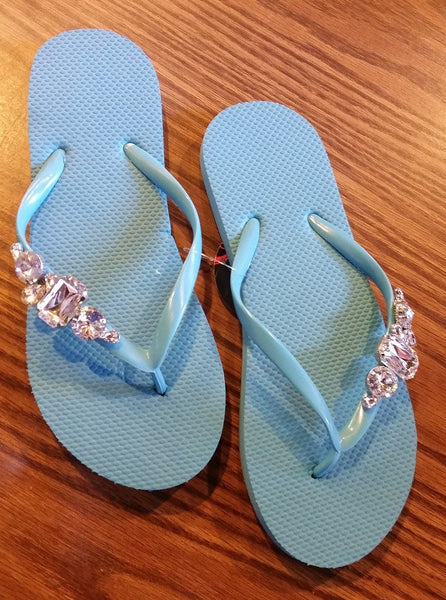 Womens Solid Color Flip Flops with Glamourous Large Gem Adornments