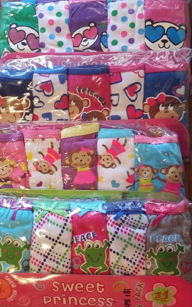 Girls 5pack Panties Kids Underwear Assorted Graphics & Characters - 24 packs