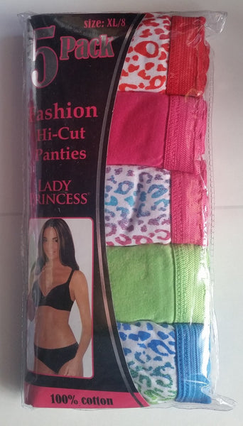 100% Cotton Fashion Panties 5 Pack Rainbow Leopard