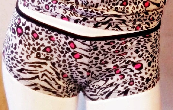 2 Piece Animal Print Cami & Boyshort with Pink Accents
