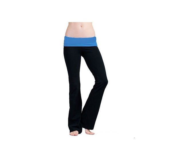 Women's Fashion Yoga Leggings with Turquoise Foldover WaistBand - 24 Pairs