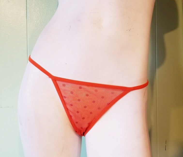Orange Polka Dot Mesh Thongs