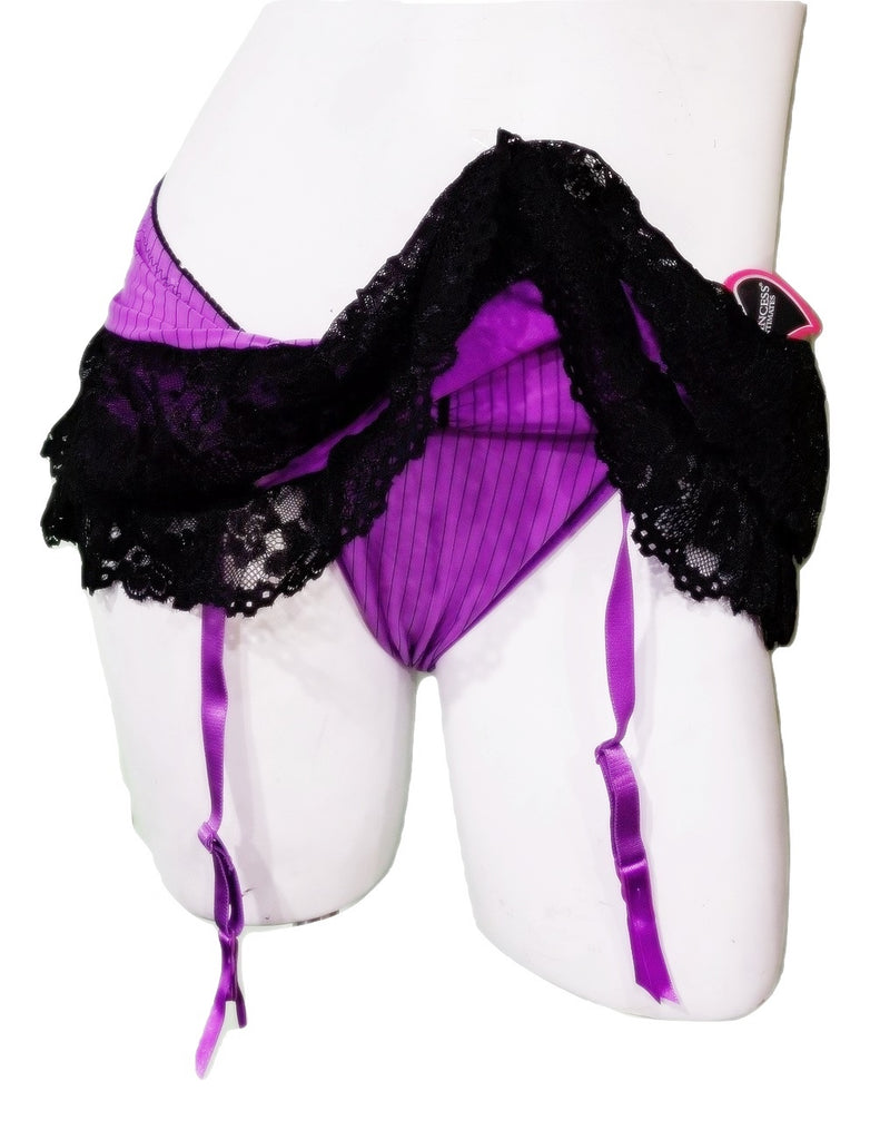 Satiny Purple & Black Mesh Skirted Thong
