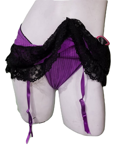Pinstripes and Lace Skirted Thong - Purple