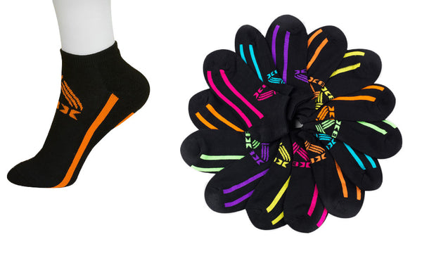 6 Pairs of Womens Athletic Ankle Socks with Colorful Stripe Accents - 12 Hangers
