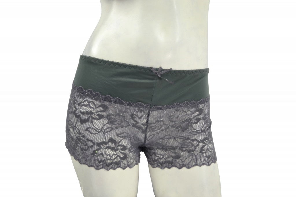Plus-size Gray Lace Boyshorts