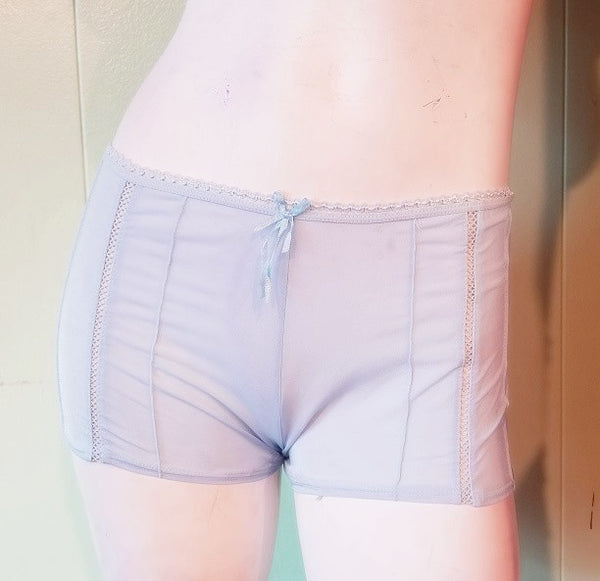 Plus-Size Sheer Boyshorts - White and Blue