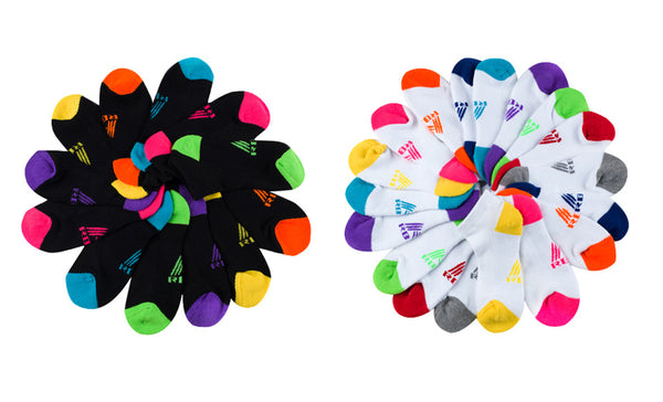 6 Pairs of Womens Athletic Ankle Socks with Colorful Accents - 12 Hangers