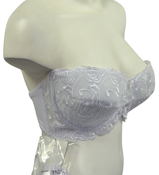 Beautiful Plus-Size Embroidered Balconnette Bra - White