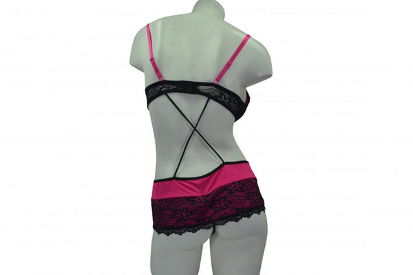 Sexy Fuchsia Criss-Cross Back Bodysuit with Black Accents