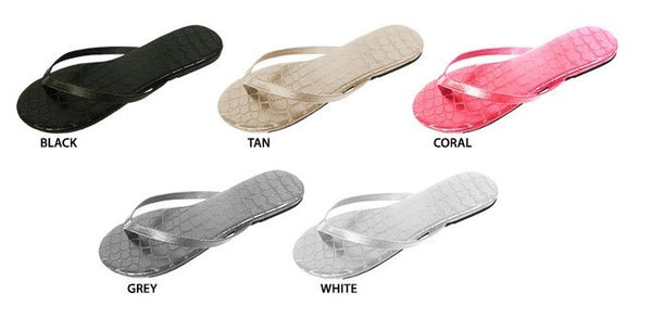 10 Pairs Flip-Flop Sandals with Crocodile-Embossed Footbed