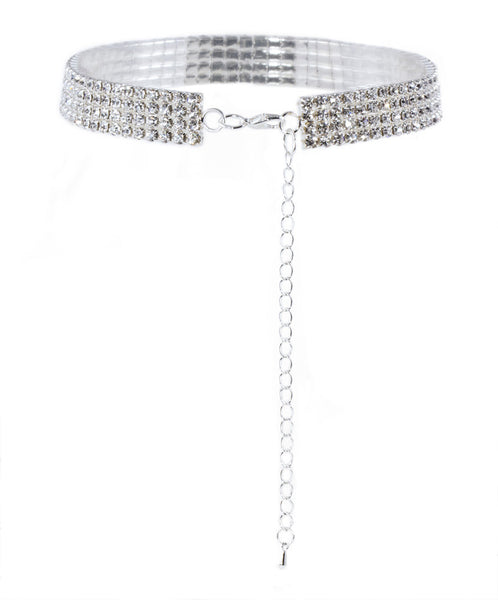 Rhinestone Choker with 4 Rows of Gems