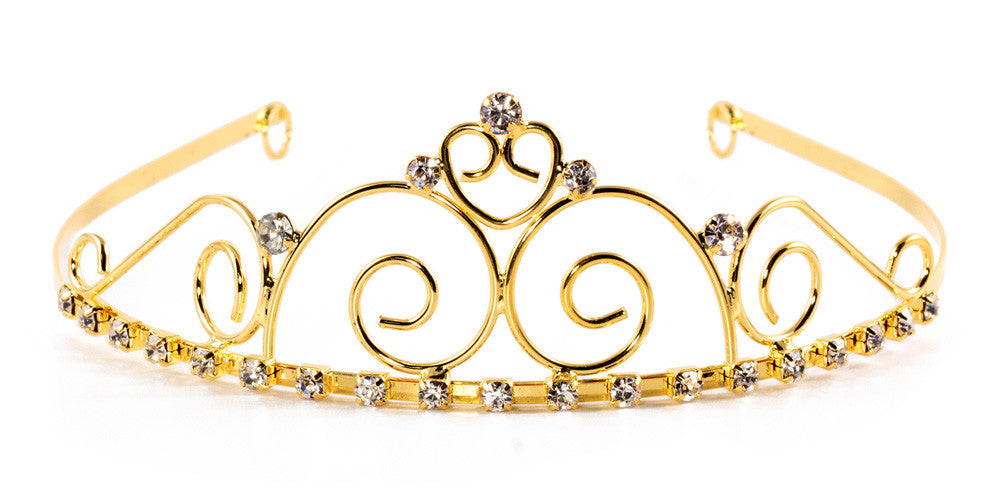 JEWELRY Royal Princess Swirl Tiara with Rhinestone Gems - 6 units