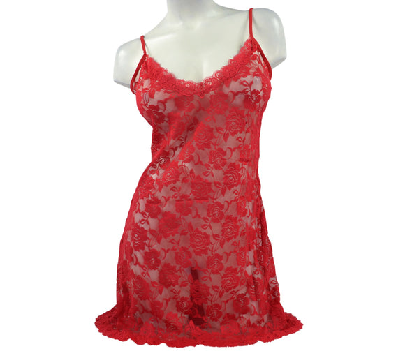 Women's Very Sexy Peek-a-boo Snug Lace Nightie - Red