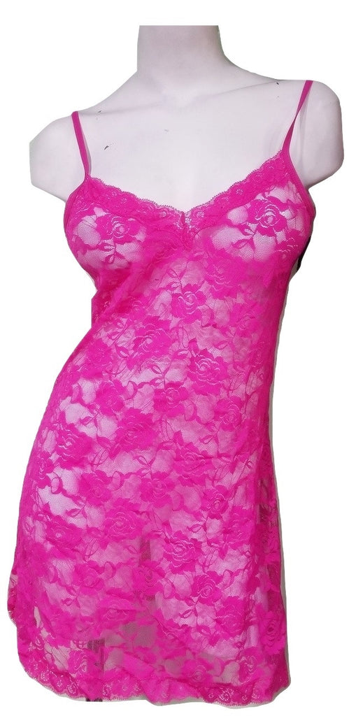 Women's Very Sexy Peek-a-boo Snug Lace Nightie - Pink