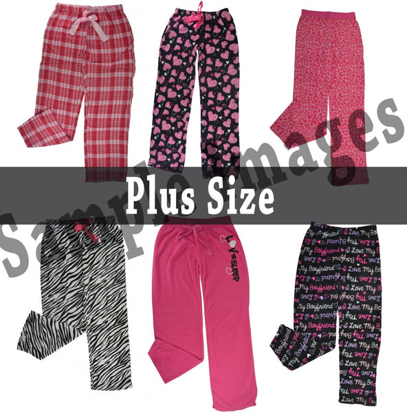 Plus-Size Wholesale Pajama Long Bottoms 24 Assorted Pieces