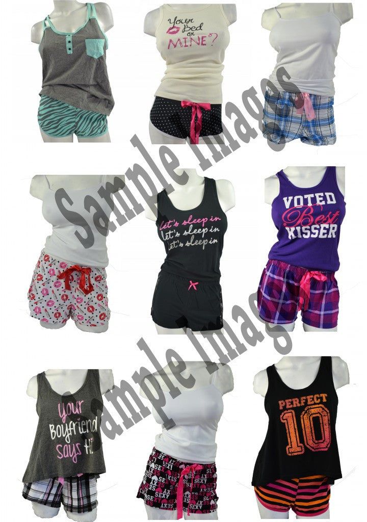 LINGERIE Wholesale Pajama Sets - Top + Short Bottoms 24 Assorted Pieces