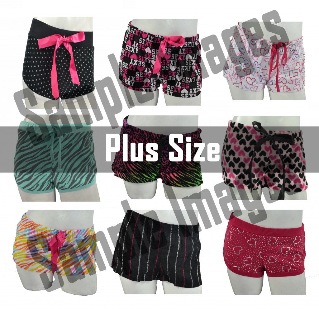 Plus-Size Wholesale Pajama Short Bottoms 8 Assorted Pieces