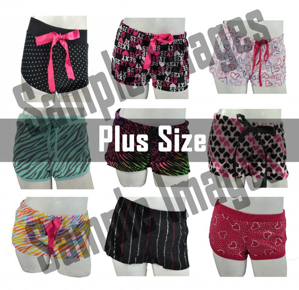 Plus-Size Wholesale Pajama Short Bottoms 24 Assorted Pieces