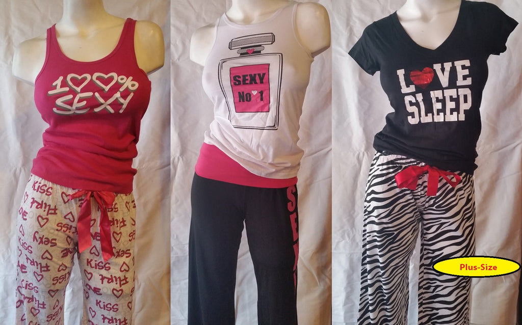 Plus-Size Wholesale Pajama Sets - Top + Long Bottoms 24 Assorted Pieces