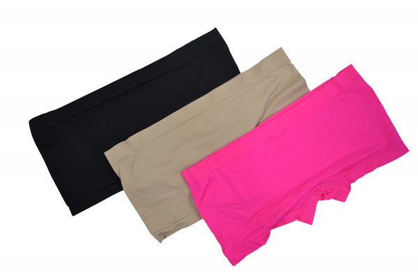 3pk Smooth Slinky Boyshorts - Black Beige Pink
