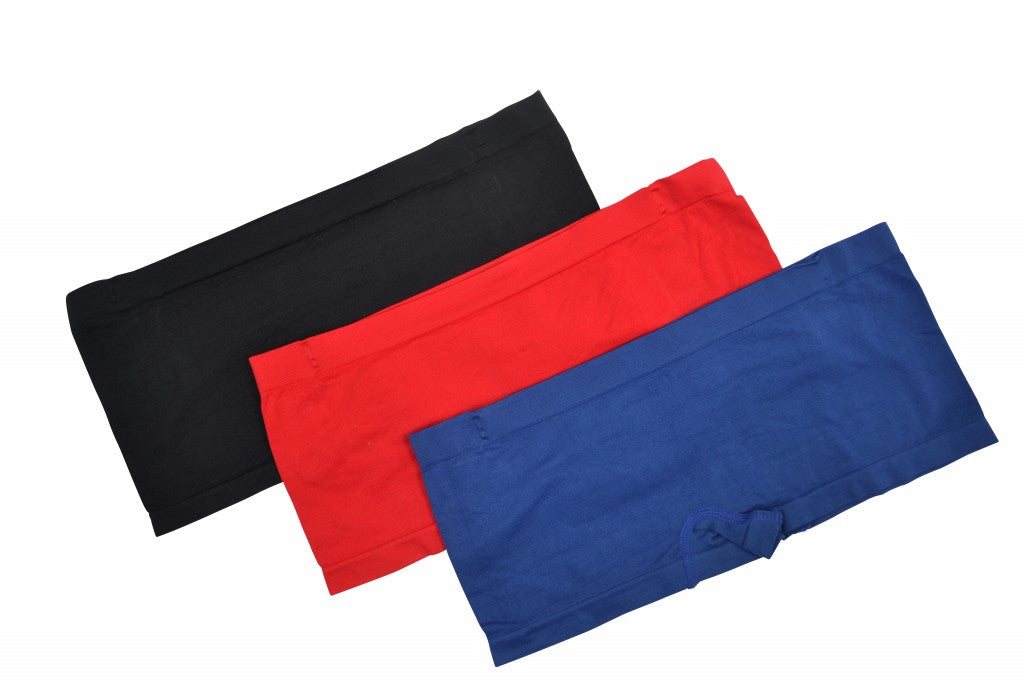 3pk Smooth Slinky Boyshorts - Red Blue Black