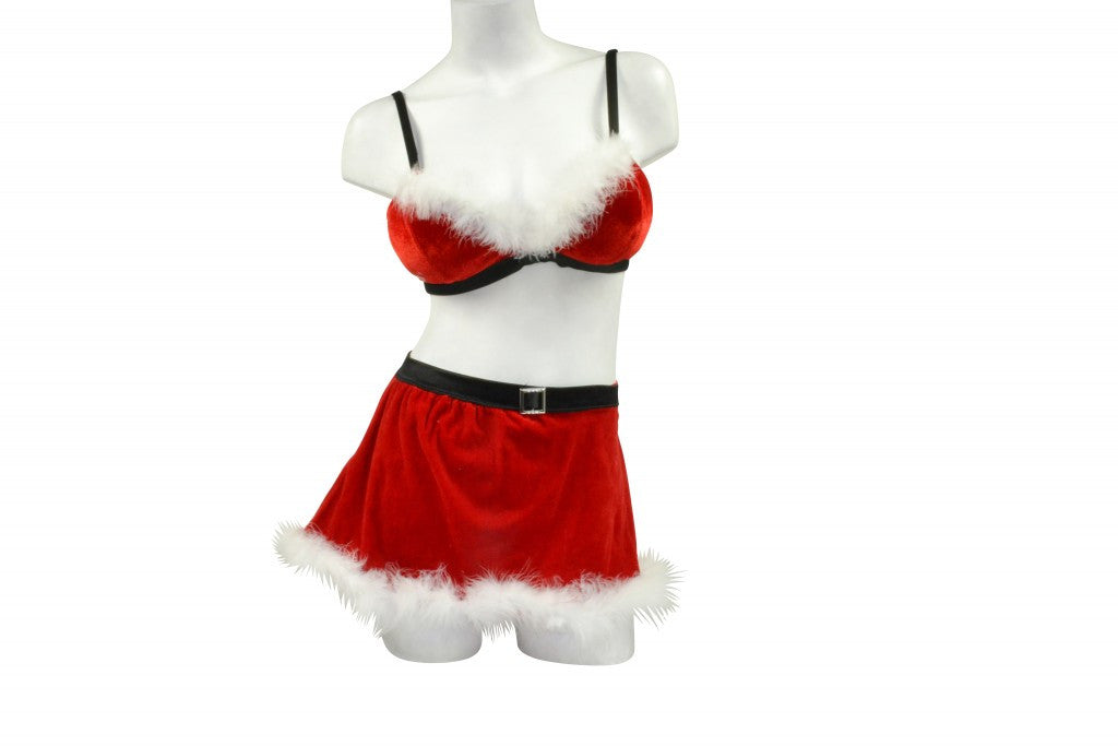 Womens 2 Pc Halloween Costume Adults Sexy Santa's Helper Outfit Christmas w/Skirt Velvet