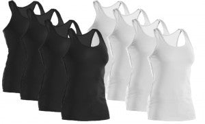 Women's 100% Cotton Derek Heart Ribbed Tank Tops - 24 units