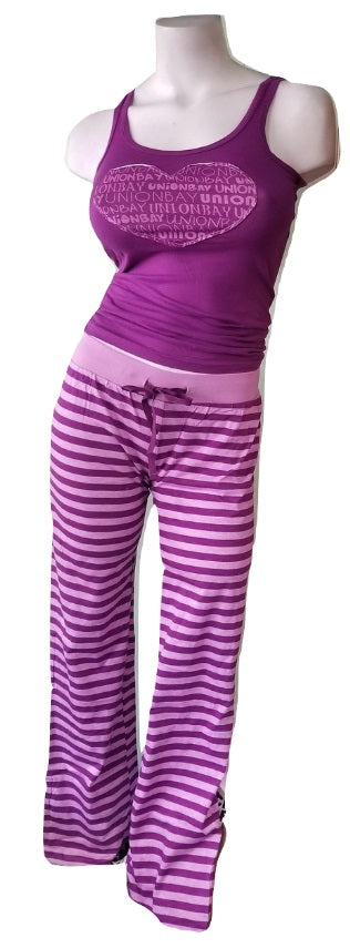 UnionBay Striped Purple Pajamas Heart