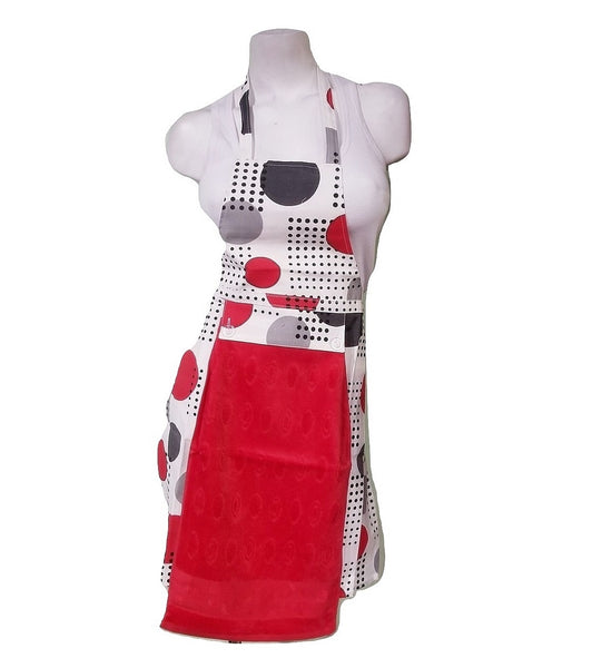 Tie-Back Apron with Towel - Retro Dots