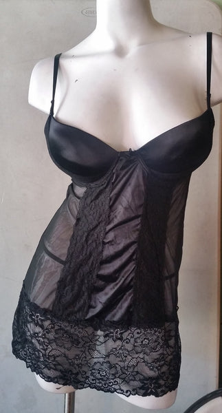 2 Piece Satin and Lace Black Push-up Babydoll