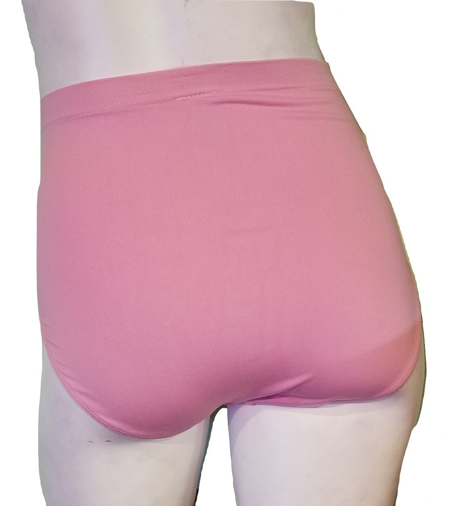 Full Coverage Seamless Plus-Size Briefs - Soft Pink