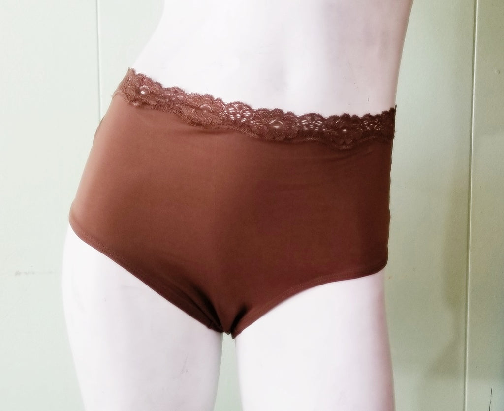Slinky Brown Panties - Plus-Size Briefs