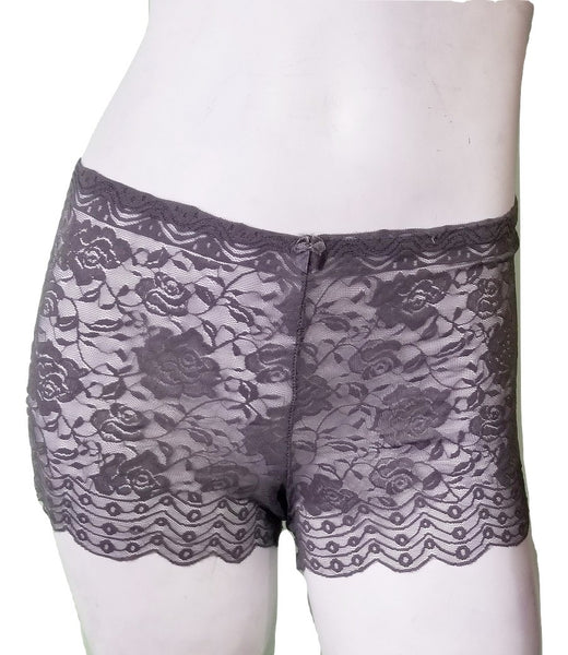 Plus-size All-Lace Gray Boyshorts - 1X