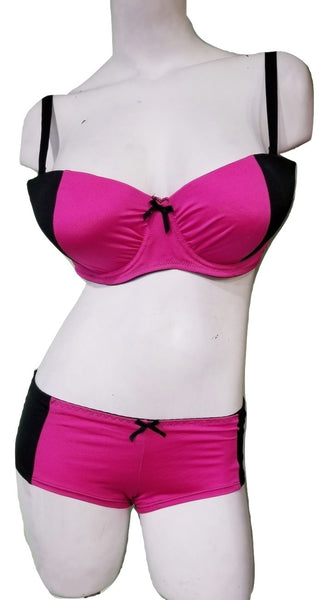 Plus-Size Fuchsia & Black Bra & Boyshorts Set