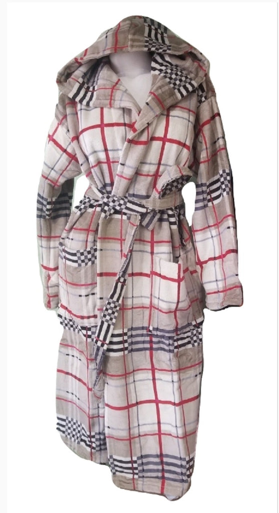 Unisex Plaid & Check Bathrobe with Hood