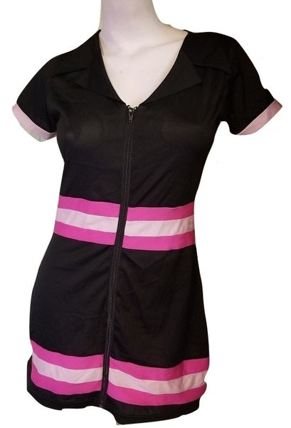 Slinky Black Zip-Front Dress with Pink Stripes