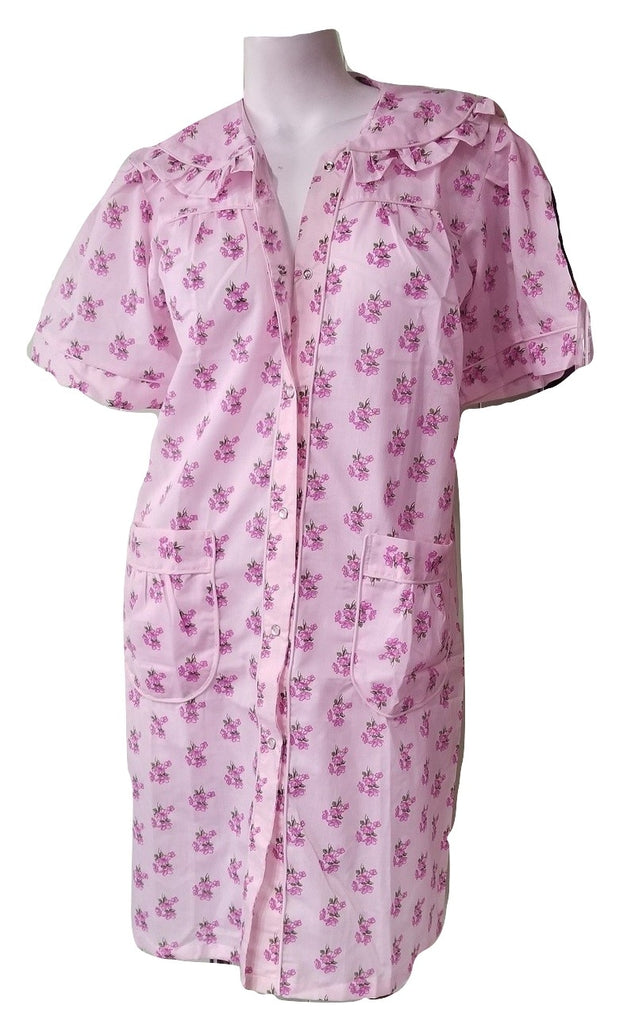 Pink Floral Snapfront Housedress