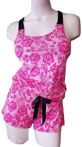 Flirty Romper with Lace Print - Pink