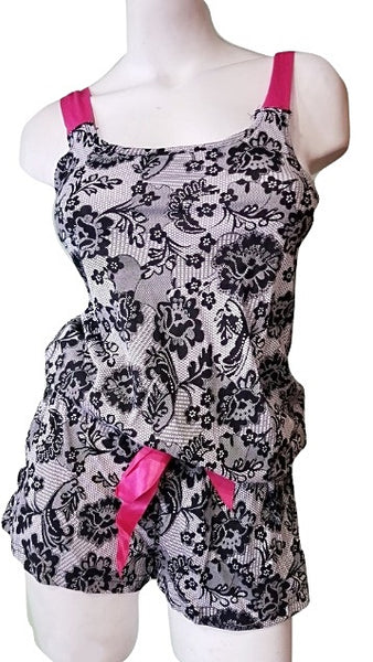 Flirty Romper with Lace Print - Black