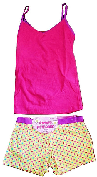 Girls' 2 Piece Cami and Boyshorts Set - Yellow Party Dots