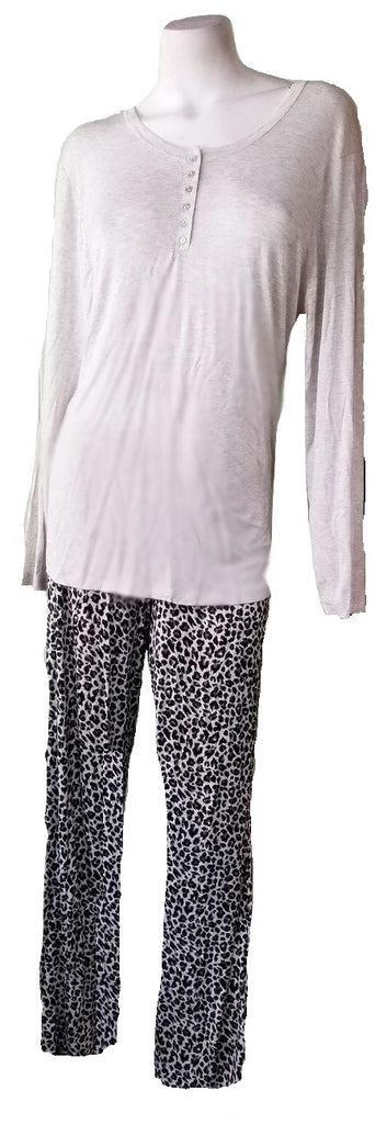 Kathy Ireland PJ Set - Gray Leopard
